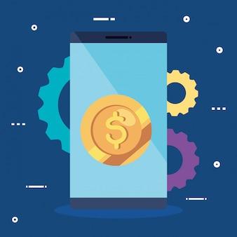 Smartphone mit münzen- und gangvektorillustrationsdesign