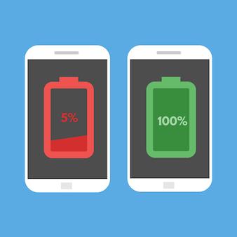 Smartphone mit niedrigem und vollem akku. flache artvektorillustration.