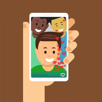 Smartphone mit offener messenger-app