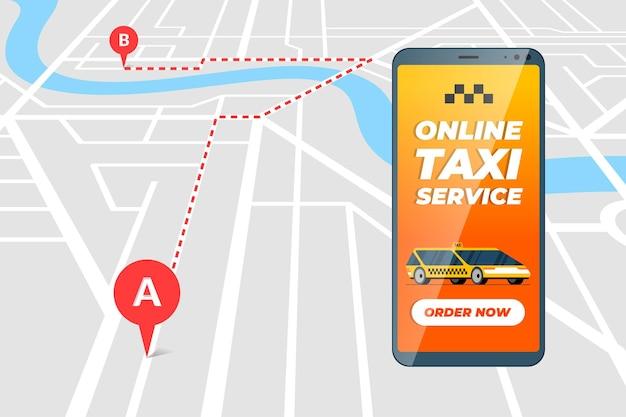 Smartphone mit online-taxi-bestellservice-app-konzept taxi-transferroute und geotag-gps-standort