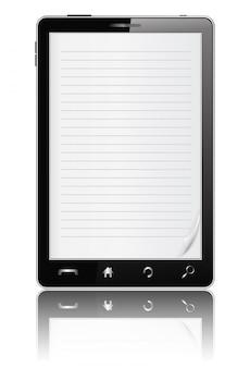 Smartphone mit papier auf dem bildschirm