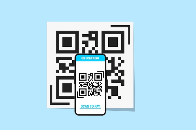 Smartphone mit qr-code-scanner. qr-code-scanner. scannen von qr-code, barcode auf dem handyñž konzept kontaktloses bezahlen. kann für landing page, vorlage, benutzeroberfläche, web, mobile app, banner, flyer verwendet werden