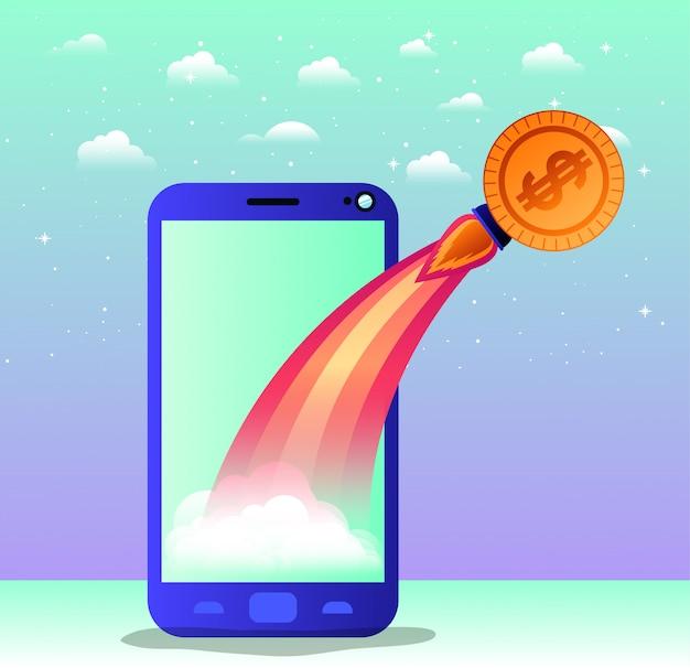 Smartphone mit raketenstart und münze