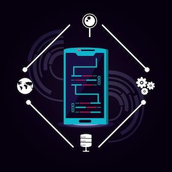 Smartphone mit rechenzentrumsymbol