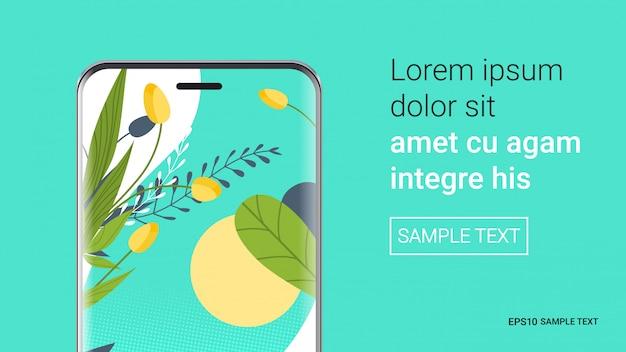 Smartphone mit schönen tapeten auf dem bildschirm realistische modell gadgets und geräte konzept kopie raum horizontale vektor-illustration