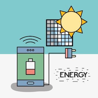 Smartphone mit schwacher batterie und stromkabel zur sonnenenergie