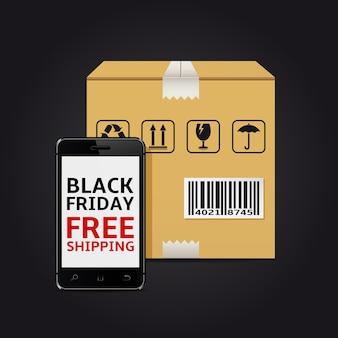 Smartphone mit schwarzem freitag versandkostenfreier text auf dem bildschirm und karton mit barcode