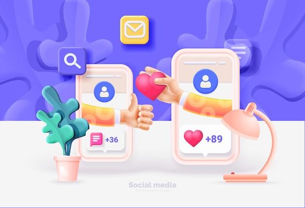 Smartphone mit social-media-ui-telefonvorlage interaktion zwischen menschen über soziale netzwerke benutzeroberfläche des sozialen netzwerks mit neuen likes-kommentaren follower vektorillustration 3d-stil