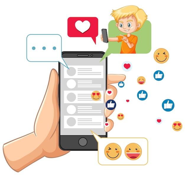 Smartphone mit sozialem mediensymbolthema lokalisiert auf weißem hintergrund