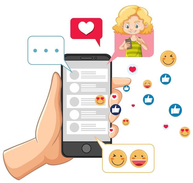 Smartphone mit sozialem medienthema lokalisiert auf weißem hintergrund