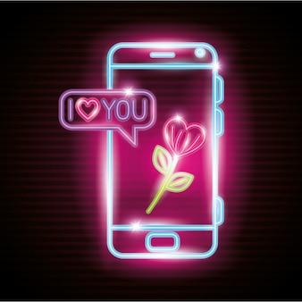 Smartphone mit spracheblase im neonlicht, valentinstagillustration