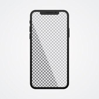 Smartphone mit transparentem bildschirm auf weiß