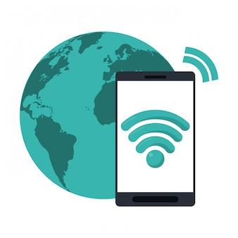 Smartphone mit wifi und weltsymbol