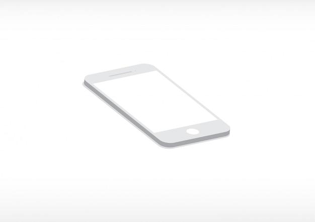 Smartphone-modell auf weißem hintergrund.