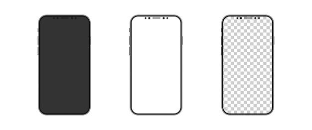 Smartphone-modell. handy-bildschirm weiß schwarz und transparent.