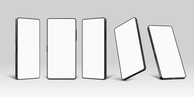 Smartphone-modelle. realistische 3d-handy-gerätevorlage mit leerem bildschirm. mobiltelefon vor, perspektive und winkelansichtsvektorsatz. abbildung mockup smartphone und handy-bildschirm