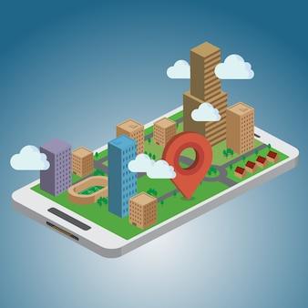 Smartphone-navigation - gps-konzept