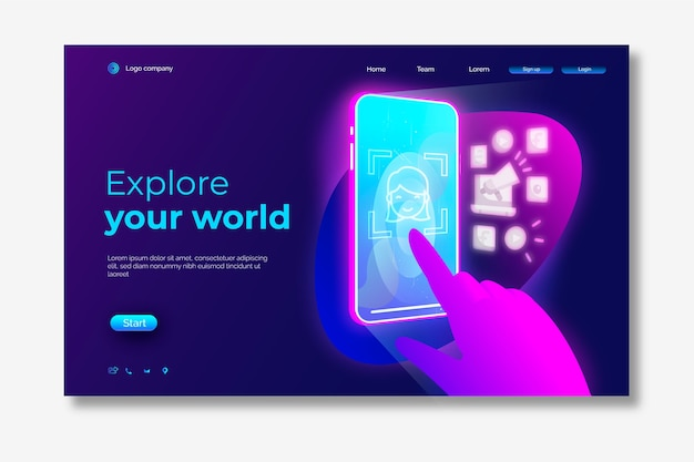 Smartphone neon landing page