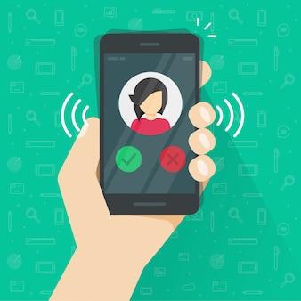 Smartphone oder handy, die flache karikatur der illustration klingeln oder nennen