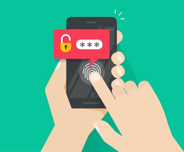 Smartphone oder handy mit fingerabdruck-taste und passwort-benachrichtigung entsperrt
