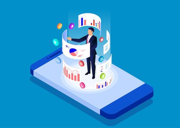 Smartphone-online-datenanalyse- und -verwaltungstool-datenanalyse-mobilanwendung