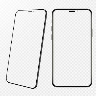 Smartphone-rahmen weniger leerer bildschirm, gedrehte position. 3d isometrische illustration handy. smartphone perspektivische ansicht. vorlage für die benutzeroberfläche für infografiken oder präsentations-ui.