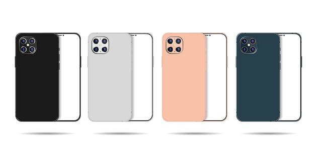 Smartphone rahmenlos realistisch und detailliert vorder- und rückseite