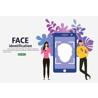 Smartphone scannt ein personengesicht