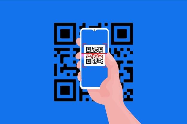 Smartphone scannt qr-code-stil
