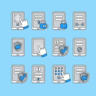 Smartphone-sicherheitskonzept. symbole satz der mobilen sicherheit. passwortschlüssel und sperre am smartphone. schilder zum schutz des telefons.