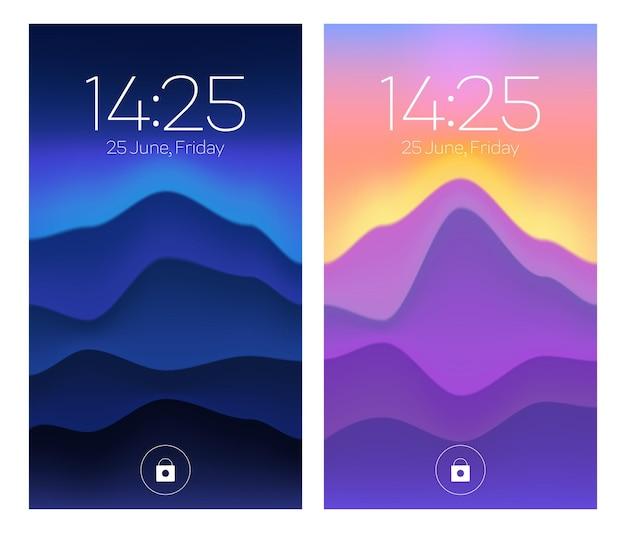 Smartphone-sperrbildschirme handy-onboard-seiten mit farbverlauf-hintergrundbild datum woche tag und uhrzeit abstrakter hintergrund für digitale geräte-ui-anwendungsvorlage benutzeroberflächen-design-mockup