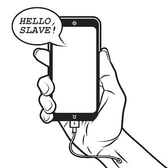 Smartphone spricht mit menschen und lädt sich von hand auf