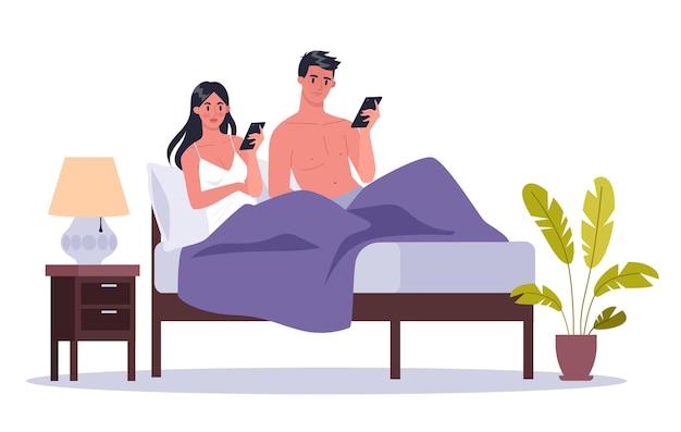 Smartphone-sucht-konzept. junges paar, das in einem bett zusammen liegt, das das internet surft. frau und mann mit telefonsucht zu hause. illustration