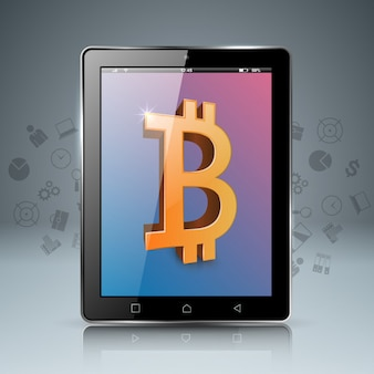 Smartphone, tablet, digitale bitcoin-symbol