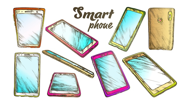 Smartphone-technologie-gadget-set farbe