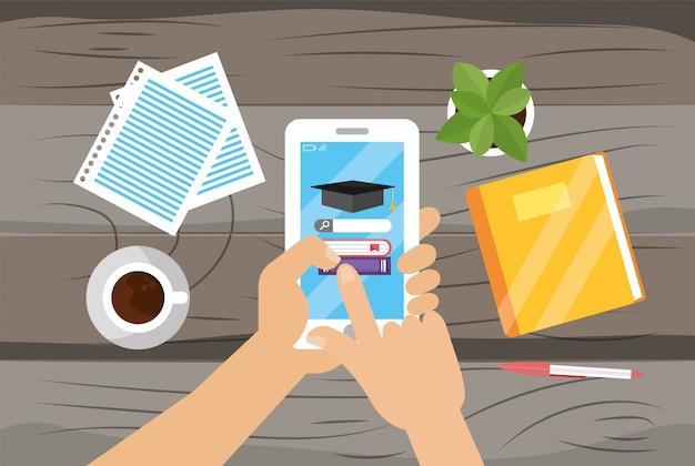 Smartphone-technologie mit buchbildung und dokumenten