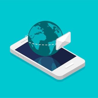 Smartphone und erde im trendigen isometrischen stil