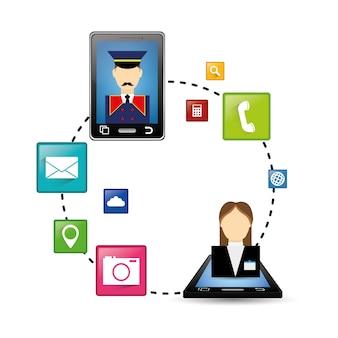 Smartphone und hotel digitale apps design