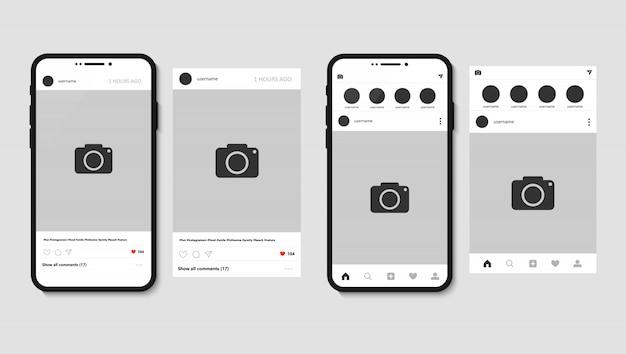 Smartphone- und instagram-app mit beitrag für foto