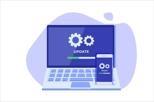 Smartphone und laptop system update flat style konzept