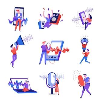 Smartphone- und mikrofon-schallwelle isolierte abstrakte symbole vektor-lautstärkelautsprecher und megaphon-musikplayer und laptop-aufnahmestimme hören lied- oder melodie-audioinformationen mann und frau Premium Vektoren
