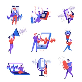 Smartphone- und mikrofon-schallwelle isolierte abstrakte symbole vektor-lautstärkelautsprecher und megaphon-musikplayer und laptop-aufnahmestimme hören song- oder melodie-audioinformationen mann und frau