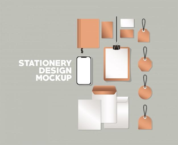 Smartphone und modell auf grauem hintergrund der corporate identity und briefpapier design thema vektor-illustration eingestellt