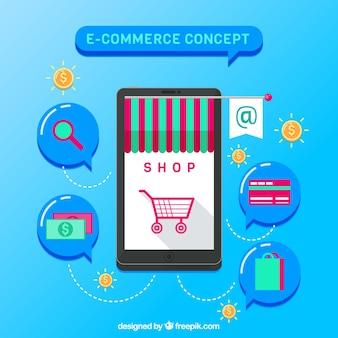 Smartphone und shopping icons mit flachem design