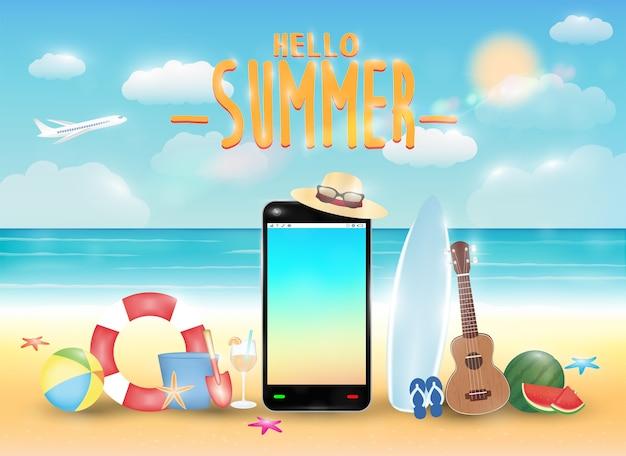 Smartphone und sommergegenstand mit hellem sommerseestrand