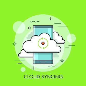 Smartphone und zeichen mit zwei pfeilen, die kreis bilden. cloud-computing-dienst oder -technologie, datenspeicherung und -synchronisierung, informationssynchronisierung.