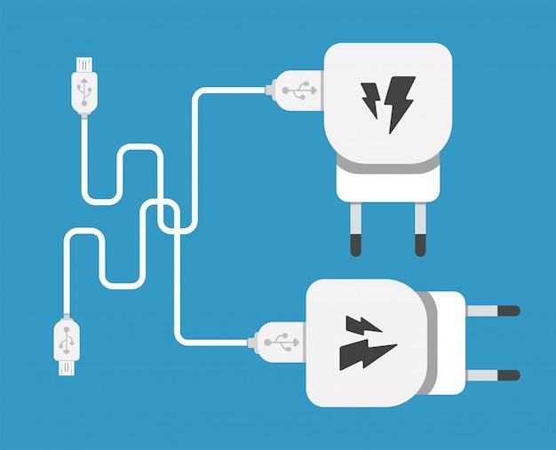 Smartphone usb-ladeadapter mit usb-mikrokabel (buchse und anschluss für pc und mobile geräte)
