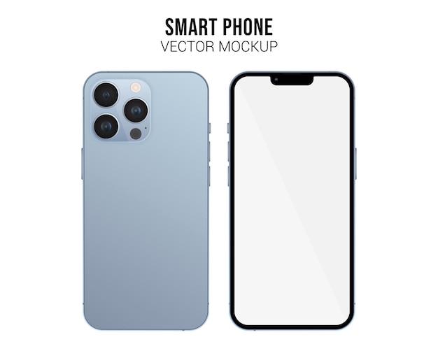 Smartphone-vektor-mockup mit weißem bildschirm isoliert