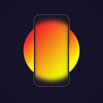 Smartphone-vorlage. glasmorphismus-stil. realistischer glasmorphismuseffekt mit transparenten glasplatten. vektor-illustration.