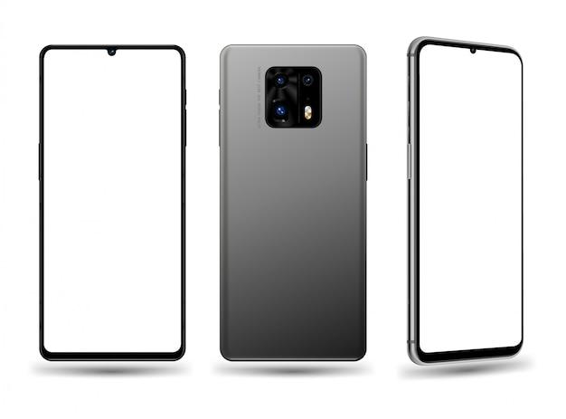 Smartphone vorne hinten und perspektivische illustration für technologie-werbeelement